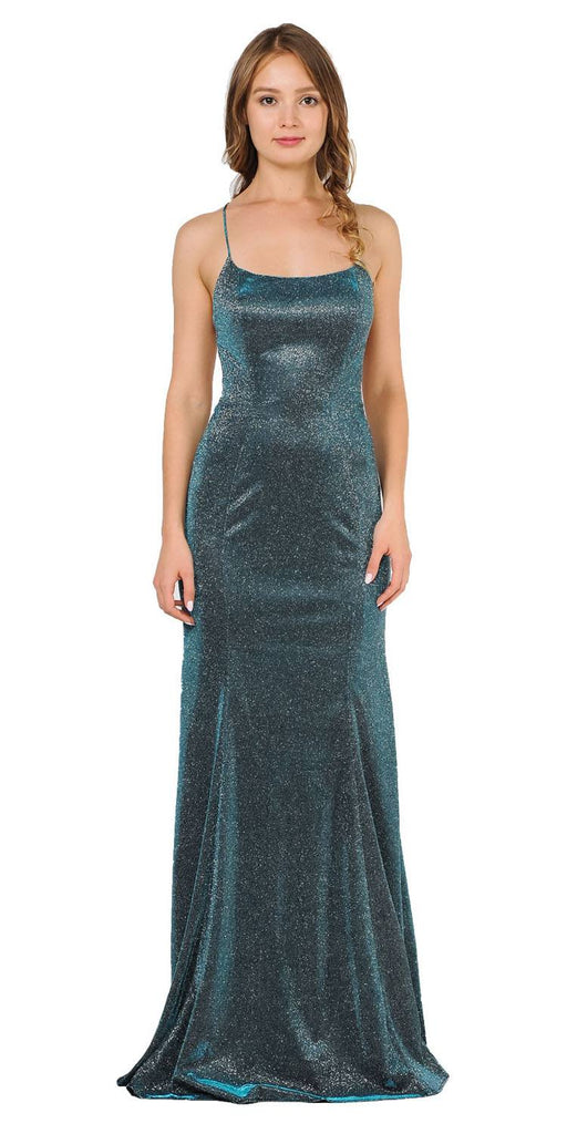 Teal Mermaid Style Glitter Long Prom Dress