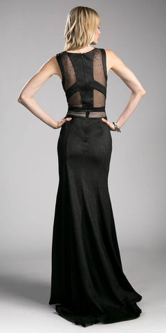Sleeveless Sheer Cut Out Prom Gown Beaded Black
