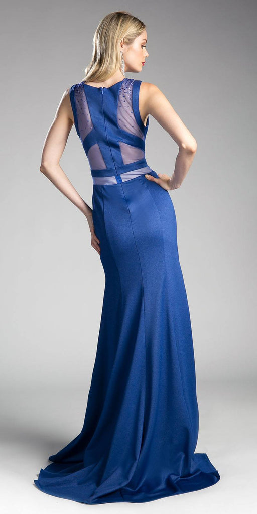 Sleeveless Sheer Cut Out Prom Gown Beaded Blue