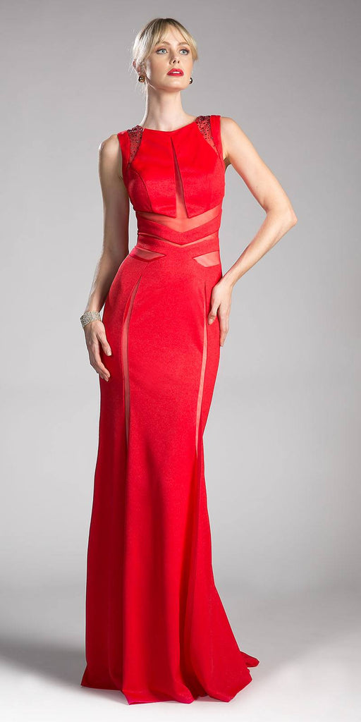 Sleeveless Sheer Cut Out Prom Gown Beaded Red