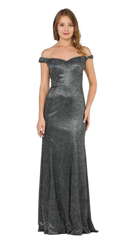 Off-Shoulder Glitter Long Prom Dress Black/Silver