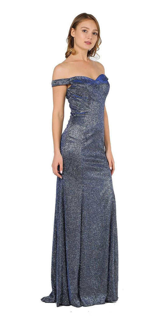 Off-Shoulder Glitter Long Prom Dress Royal Blue
