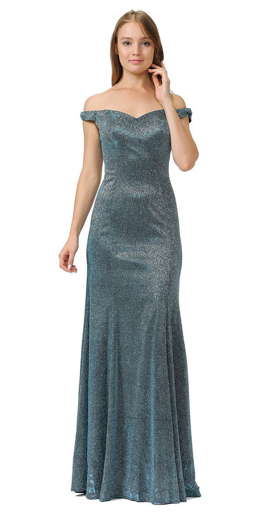 Off-Shoulder Glitter Long Prom Dress Teal
