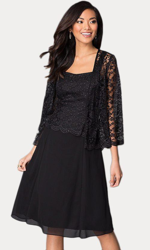 Short Black Mother of Groom Dress Chiffon Knee Length Lace Jacket