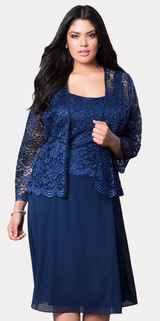 Short Navy Blue Mother of Groom Dress Chiffon Knee Length Lace Jacket