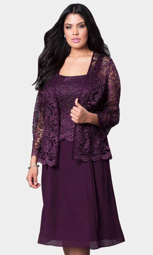 Short Plum Mother of Groom Dress Chiffon Knee Length Lace Jacket