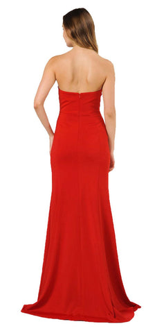 Red Strapless Long Prom Dress with Sheer Cut-Out