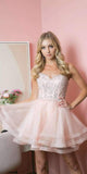 Juliet 849 Short Damas Blush Dress Tiered Tulle Skirt Embroidered Bodice