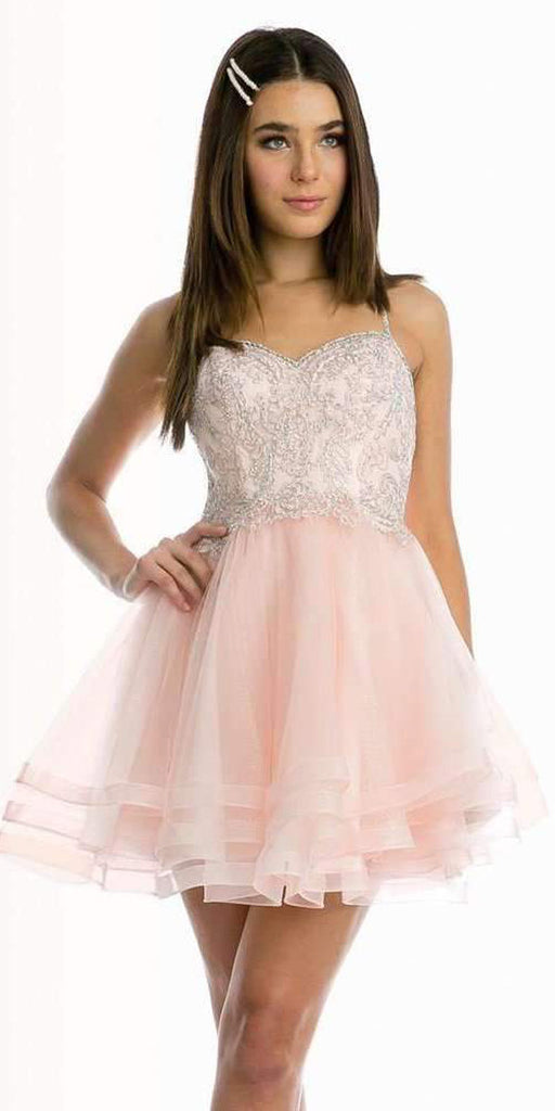 Juliet 849 Short Tiered Tulle Homecoming Blush Dress Embroidered Bodice