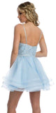 Juliet 849 Short Tiered Tulle Homecoming Ice Blue Dress Embroidered Bodice
