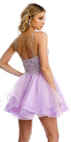 Juliet 849 Short Tiered Tulle Homecoming Lilac Dress Embroidered Bodice
