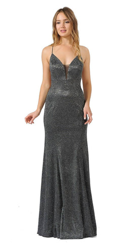 Black/Silver Glitter Long Prom Dress with Strappy Back