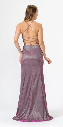 Magenta Glitter Long Prom Dress with Strappy Back
