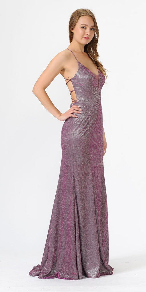 Poly USA 8494 Magenta Glitter Long Prom Dress with Strappy Back