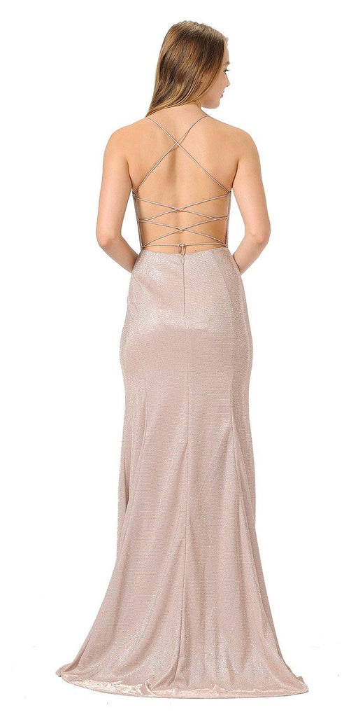 Rose Glitter Long Prom Dress with Strappy Back