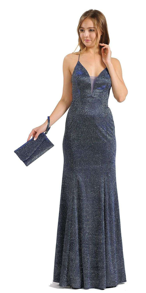 Royal Blue Glitter Long Prom Dress with Strappy Back