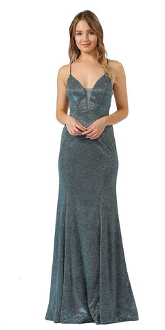 Teal Glitter Long Prom Dress with Strappy Back