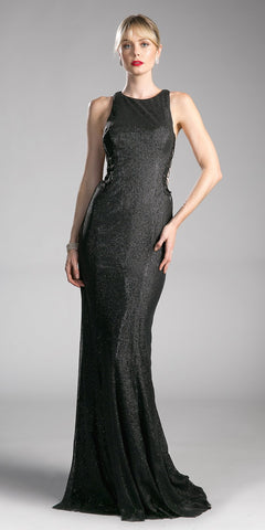 Black Evening Gown with Lace Up Side Cut-Out