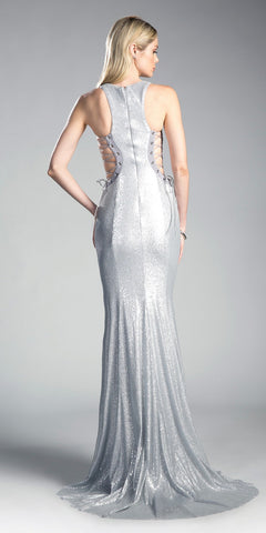 Silver Evening Gown with Lace Up Side Cut-Out
