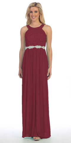 Semi Formal Chiffon Matt Jersey Burgundy Dress Lace Top Rhinestone Waist