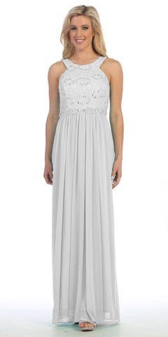 Semi Formal Chiffon Matt Jersey Ivory Dress Lace Top Rhinestone Waist