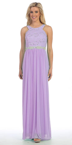 Semi Formal Chiffon Matt Jersey Lilac Dress Lace Top Rhinestone Waist