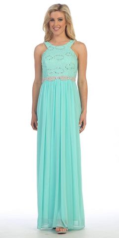 Semi Formal Chiffon Matt Jersey Mint Dress Lace Top Rhinestone Waist