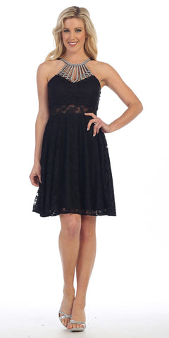 Celavie 8504 Black Halter Embellished Neckline A-Line Homecoming Dress