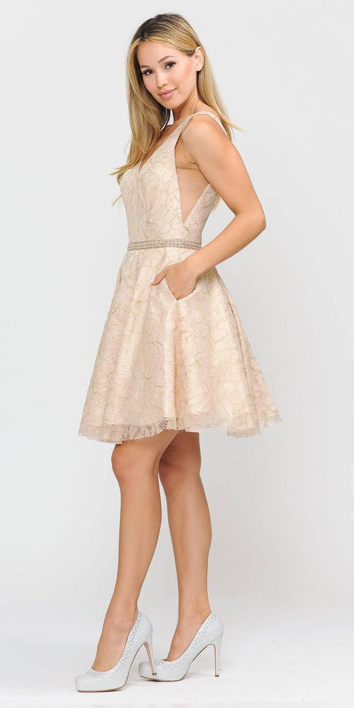 V-Neck and Back Champagne Homecoming Short Dress with Pockets