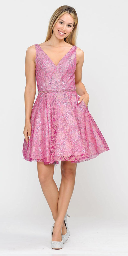 V-Neck and Back Magenta/Pink Homecoming Short Dress with Pockets
