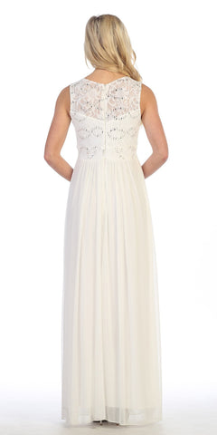 Celavie 8506 Sleeveless Long Formal Dress with Embellished Neckline Ivory