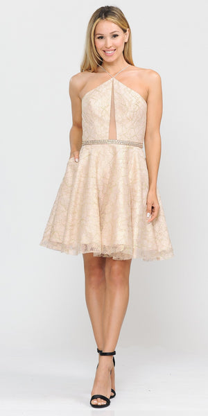 Short Halter Homecoming Dress Cut-Out Back Champagne