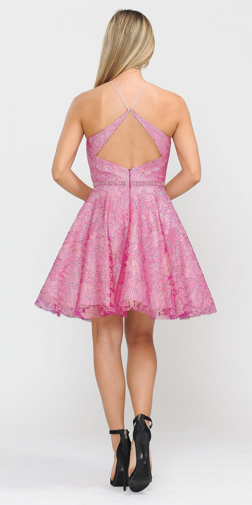 Short Halter Homecoming Dress Cut-Out Back Magenta/Blush