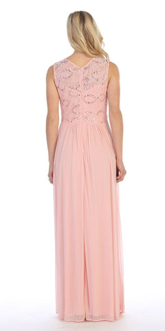 Celavie 8506-L Sleeveless Long Formal Dress with Embellished Neckline Blush Back View