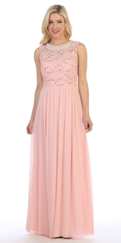 Celavie 8506-L Sleeveless Long Formal Dress with Embellished Neckline Blush