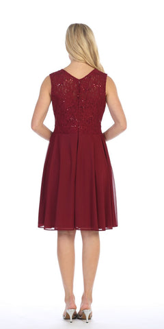 Celavie 8506-S Sleeveless Short Cocktail Dress with Embellished Neckline Burgundy Back View