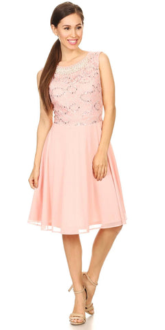 1b1f2af18af Celavie 8506-S Sleeveless Short Cocktail Dress with Embellished Neckline  Blush