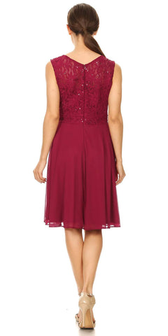 Celavie 8506-S Sleeveless Short Cocktail Dress with Embellished Neckline Burgundy