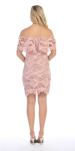 Lace Short Off-the-Shoulder Sheath Dress Blush