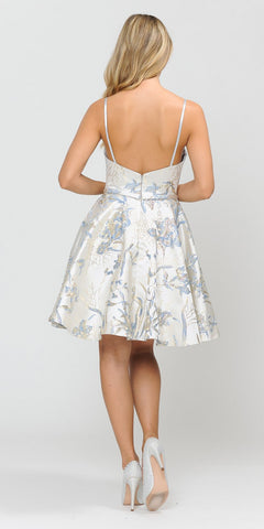 Poly USA 8508 Blue Printed Homecoming Short Dress with Spaghetti Straps