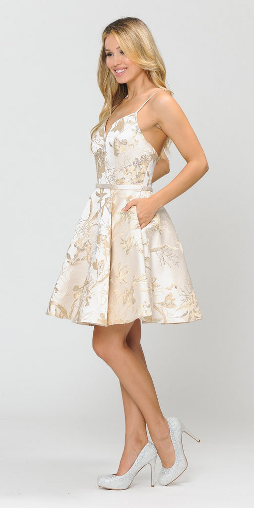 Poly USA 8508 Champagne Printed Homecoming Short Dress with Spaghetti Straps
