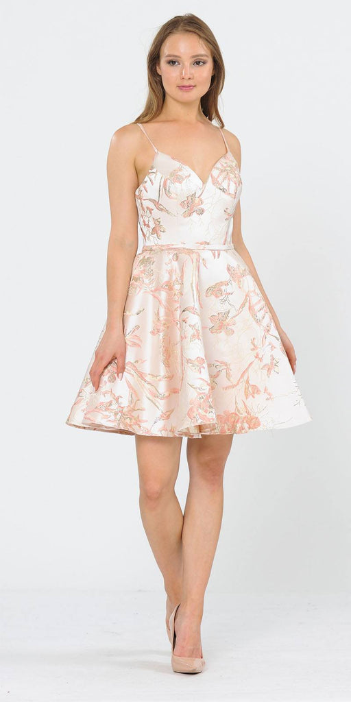 Pink Printed Homecoming Short Dress with Spaghetti Straps