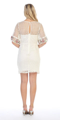 Ivory Short Wedding Guest Dress Embroidered