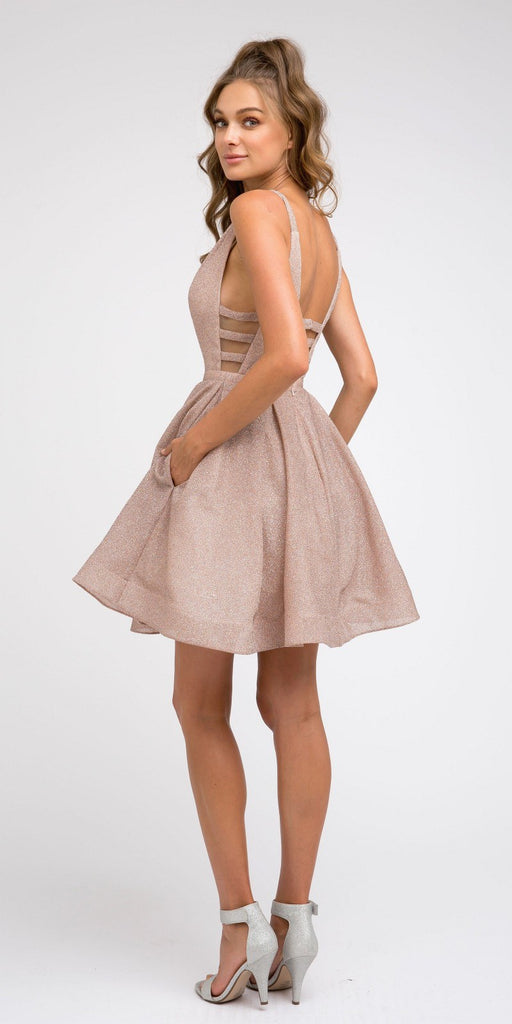 Blush Homecoming Short Glitter Dress with Cut-Outs