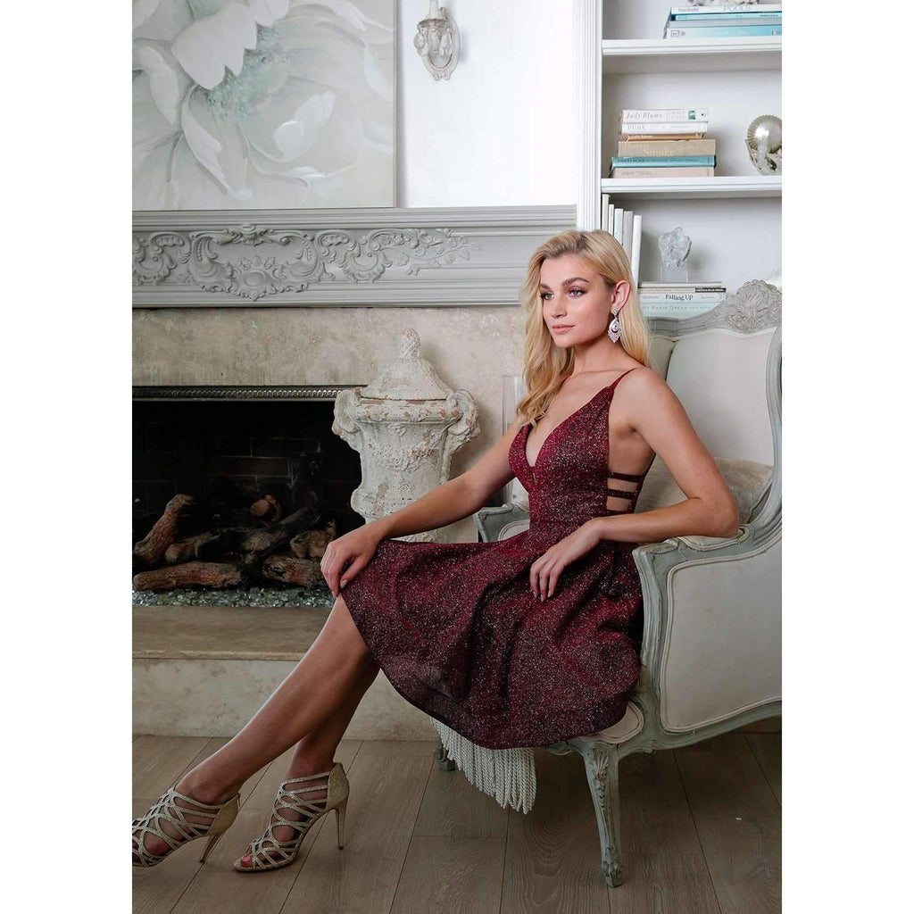 Burgundy Homecoming Short Glitter Dress with Cut-Outs