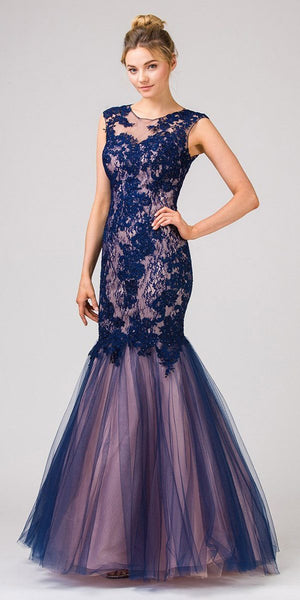 Cut-Out Back Navy/Blush Mermaid Long Prom Dress