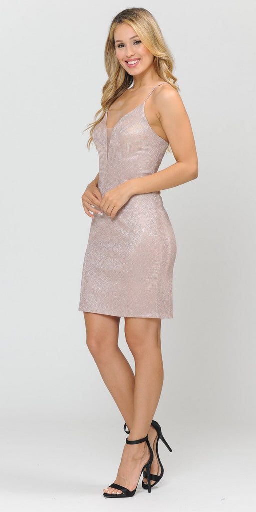 Poly USA 8514 Rose Gold Glittery Short Homecoming Dress Criss-Cross Back