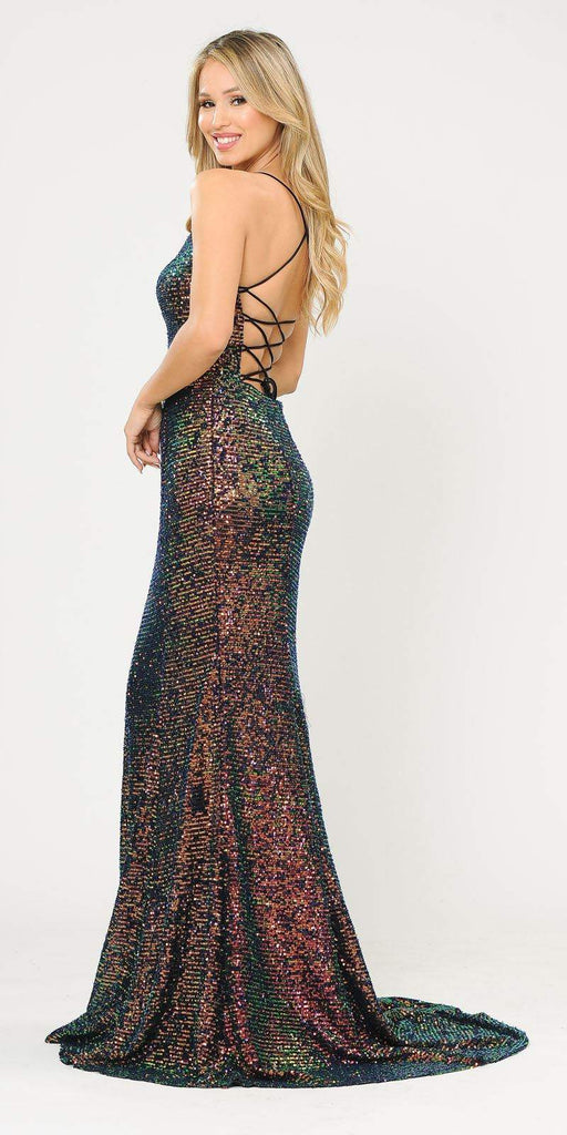 Multi-Color Mermaid Style Sequins Long Prom Dress