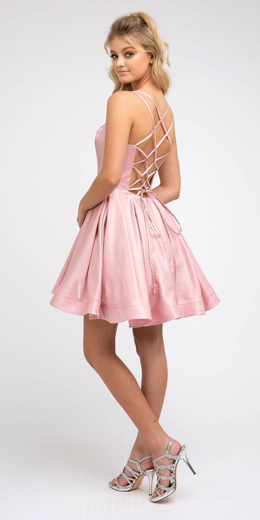 Caged-Back Homecoming Short Dress Blush with Pockets