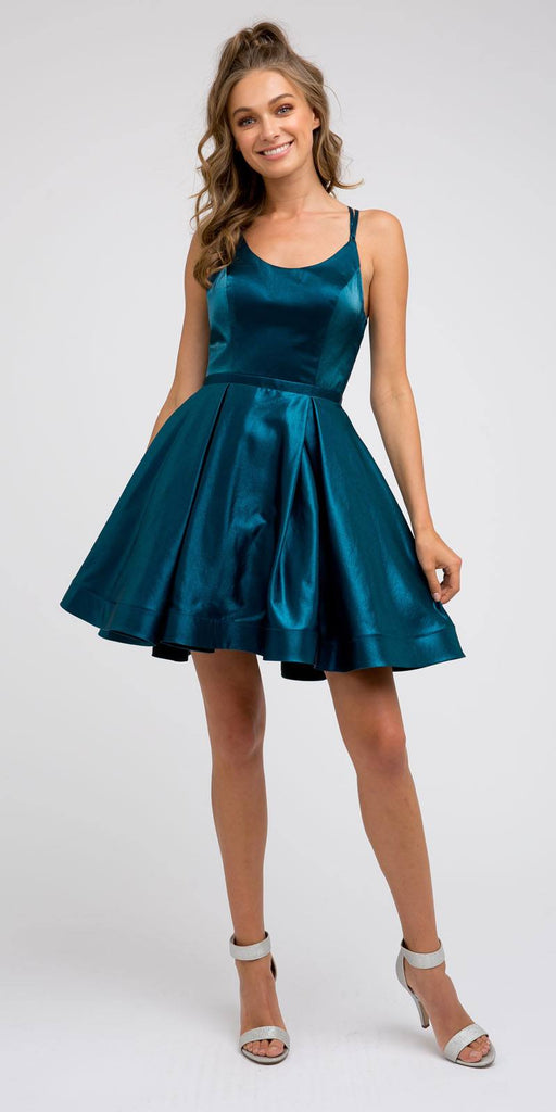 Caged-Back Homecoming Short Dress Teal with Pockets